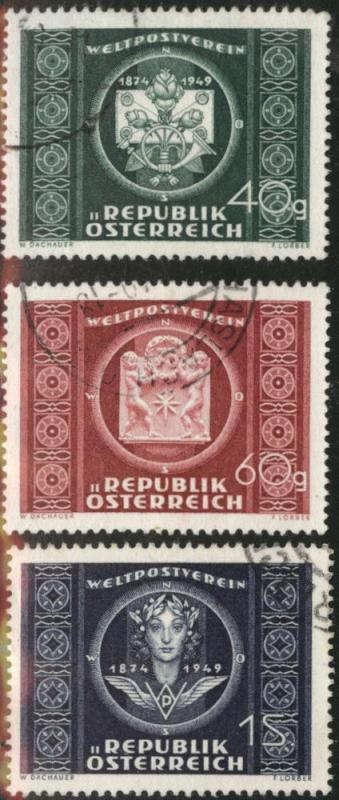 Austria Scott 565-7 used 1949 UPU set CV$15.50