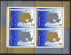Romania. 2005. bl 354. Romania's accession to the EU, map. MNH.