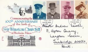 GB 1974 Churchill Centenary Stuart FDC Tunbridge Wells CDS VGC