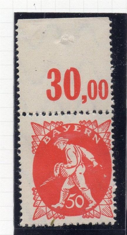 BAVARIA; 1920 early Pictorial issue fine Mint hinged 50pf. value