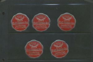 5 1936 STADT ALSLEBAN SAALE HAUPT FEST FAIR EXPO POSTER STAMPS (L1083) GERMANY
