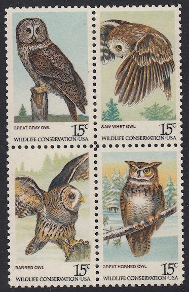 United States #1763 Owls Block of 4, Please see the description