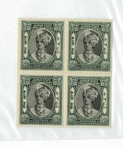 INDIA JAIPUR 1931-46 Sc 40/sg 63  3 annas block/4 VF MNH