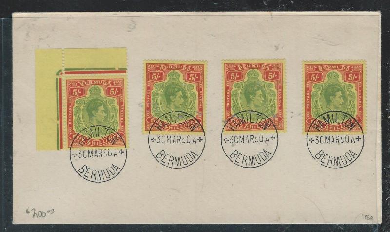 BERMUDA (P2906B) 1950 KGVI KEYPATE 5/- SG 118EX4 CTO ON UNADDRESSED ENVELOPE
