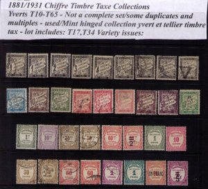 France Yverts T10-T65 France Chiffre Timbre Tax Lot(34 Total)Includes T17 & T34
