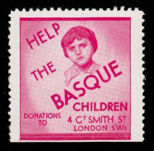 REKLAMEMARKE POSTER STAMP ⭐ HELP THE BASQUE CHILDREN ⭐ 1939 (SPANISH CIVIL WAR)