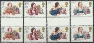 GB SG 1125 - 1128  SC# 915-918 Mint Never Hinged Gutter Pairs  Famous Authore...