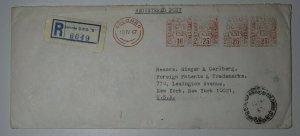 Ceylon Sri Lanka 1967 Metered Registered Post Colombo To USA Postage 25c
