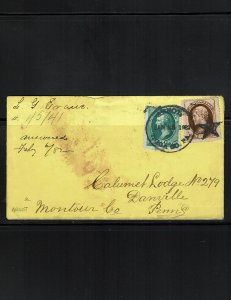 Scott 184 and 187 Fine on cover.
