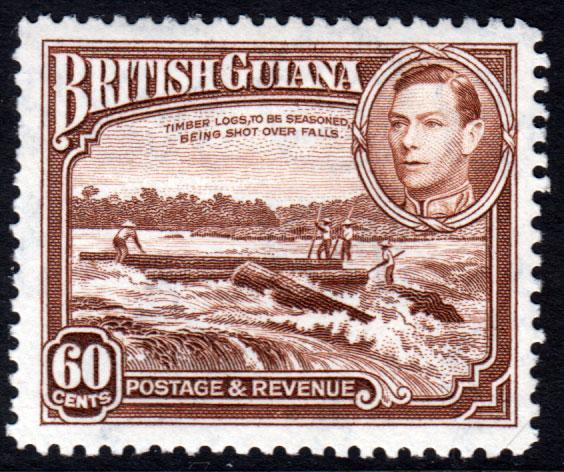 British Guiana KGVI 1938 60c Red-Brown SG315 Mint Lightly Hinged