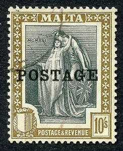 Malta SG156 10/- opt POSTAGE fine used Cat 22 pounds