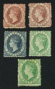 MOMEN: ST LUCIA SG #5ax,5bx,7,8,8x P12.5 1863 CROWN CC MINT OG H £710 LOT #60947