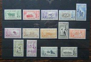 Falkland Islands 1952 set to £1 MM 1/2d 1d Unused 2d Album Remain 1s Crease