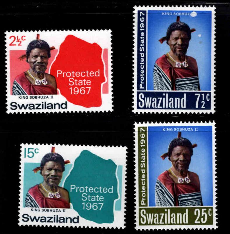 Swaziland Scott 126-129 MH* stamp set one scuffed on front of 7.5c