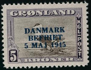 Greenland Iconic Overprint SC#27 Mint OG  VF...chance to buy individually!!