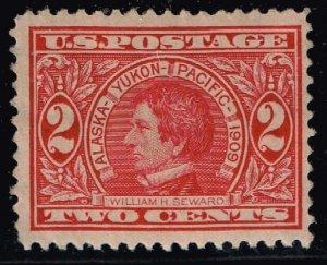 US STAMP #370 – 1909 2c Seward, carmine, perf 12 MH/OG