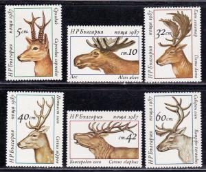 Bulgaria # 3256-3261, Deer, Elk, Mint NH, 1/2 Cat.