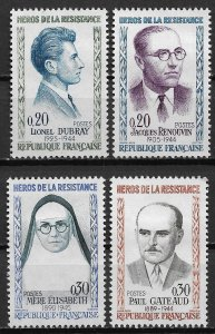 1961 France 990-3 War Heroes C/S of 4 MH