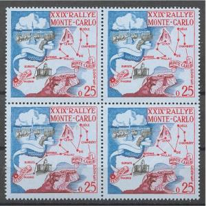 MONACO, Monte Carlo Rally 1960, BLOCK OF, 4 NEVER HINGED