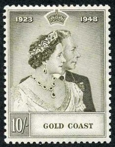 Gold Coast SG148 1948 10/- Grey-olive Silver Wedding M/M