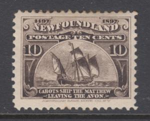 Newfoundland Sc 68 MLH. 1897 10c brown black Cabot's Ship, couple of toned perfs