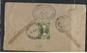 MALAYA KELANTAN   (PP1008B) COVER  1939  CHIEFS HAT 8C KOTA BHARU  TO INDIA
