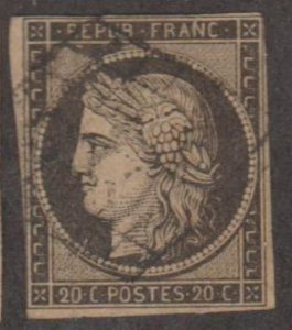 France Scott #3a Stamp - Used Single