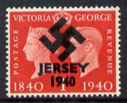Jersey 1940 Swastika opt on Great Britain KG6 Centenary 1d red