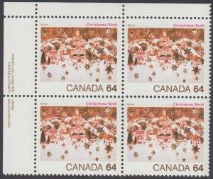 Canada - #1042 Christmas Plate Block - MNH