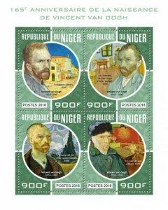 HERRICKSTAMP NEW ISSUES NIGER Van Gogh Sheetlet