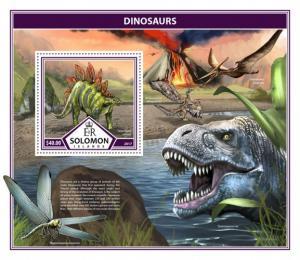 SOLOMON ISLANDS - 2017 - Dinosaurs - Perf Souv Sheet - MNH