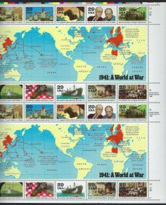 U.S.#2559 1941 WORLD WAR II EVENTS  MINT, VF, NH   FULL SHEET @ FACE VALUE!