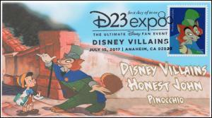 17-176, 2017, Disney Villains, Honest John, Pinocchio, Pictorial, FDC