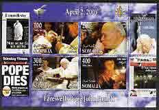 Somalia 2005 Farewell to Pope John Paul II perf sheetlet ...