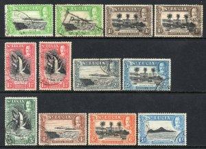 St Lucia 1936 KGV p/set (12v.) inc ALL PERFS used