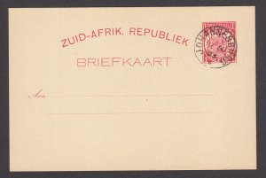 Transvaal H&G 1 used 1885 1p Postal Card, Johannesburg favor cancel, VF