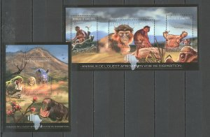 BC039 2012 GUINEA FAUNA EXTINCTION AFRICAN WILD ANIMALS 1KB+1BL MNH