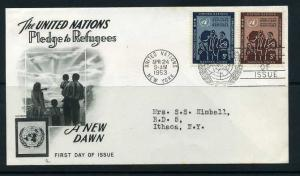 UN#15-16 FDC Refugee Issue from 1953