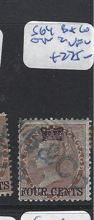 MALAYA STRAITS SETTLEMENTS (P1111B) ON INDIA QV   4C/1A  SG  4  VFU  COPY 2