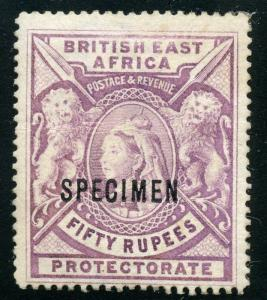 BRITISH EAST  AFRICA  SCOTT#109 50 RUPPEES SPECIMEN OVP'T MINT HINGED-SCOTT $300
