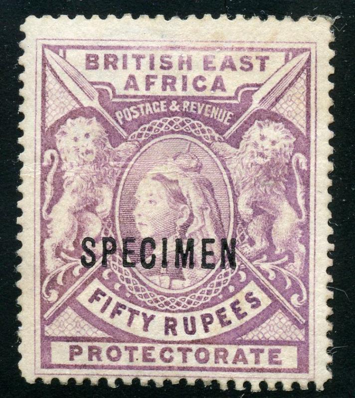 BRITISH EAST  AFRICA  SCOTT#109 50 RUPPEES SPECIMEN OVP'T MINT HINGED-SCOTT $300