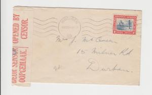 SOUTH WEST AFRICA 1940 CENSOR COVER WINDHOEK-DURBAN, 1d RATE (SEE BELOW)