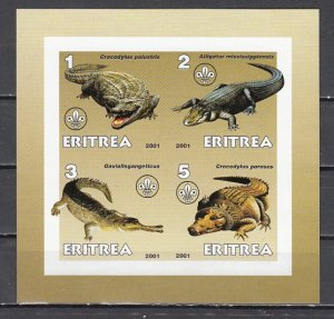 Eritrea, 2001 Cinderella issue. Alligators on an IMPERF sheet of 4. ^
