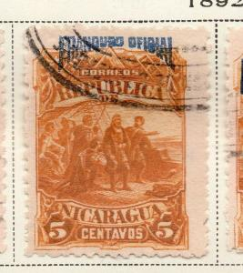 Nicaragua 1892 Early Issue Fine Used 5c. Official Optd 323708