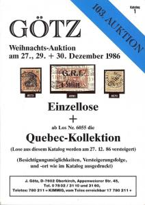Gotz: Sale # 103  -  103. Gotz-Auktion, Jurgen Gotz  Dec....