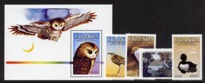 Uganda 453-7 MNH Audubon Art, Birds, Tawny Owl, Duck