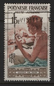 FRENCH POLYNESIA  C24   USED MOTHER OF PEARL ARTIST  1958