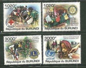 Burundi MNH 926-9 Humanitarian Organizations 2011 SCV 15.00
