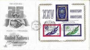 United Nations, New York #212, 25th Anniv., Art Craft, souvenir sheet