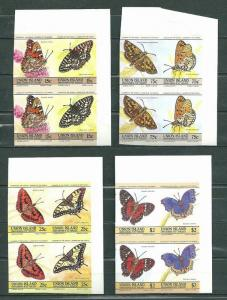 Union Island 1985 Butterflies 4 pairs x 2 imperf. MNH S.587